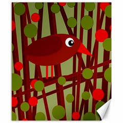 Red cute bird Canvas 8  x 10