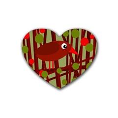 Red cute bird Heart Coaster (4 pack)