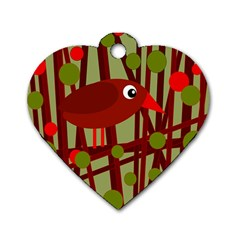 Red cute bird Dog Tag Heart (Two Sides)