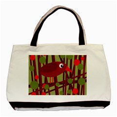 Red cute bird Basic Tote Bag (Two Sides)