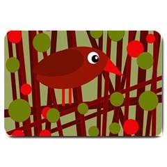 Red cute bird Large Doormat