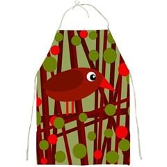 Red cute bird Full Print Aprons