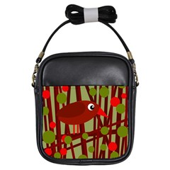 Red cute bird Girls Sling Bags