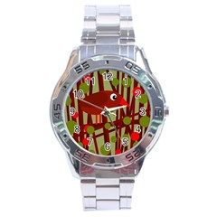 Red cute bird Stainless Steel Analogue Watch