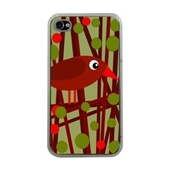 Red cute bird Apple iPhone 4 Case (Clear)