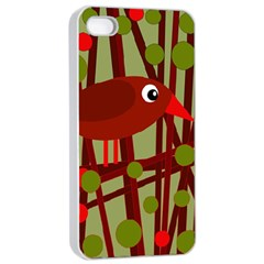 Red cute bird Apple iPhone 4/4s Seamless Case (White)