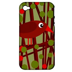 Red cute bird Apple iPhone 4/4S Hardshell Case (PC+Silicone)