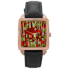 Red cute bird Rose Gold Leather Watch