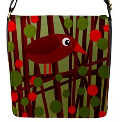 Red cute bird Flap Messenger Bag (S)