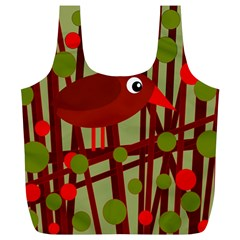 Red cute bird Full Print Recycle Bags (L)