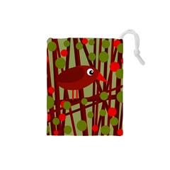 Red cute bird Drawstring Pouches (Small)