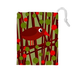 Red cute bird Drawstring Pouches (Large)