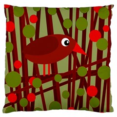 Red cute bird Large Flano Cushion Case (Two Sides)