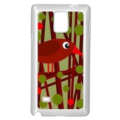 Red cute bird Samsung Galaxy Note 4 Case (White)