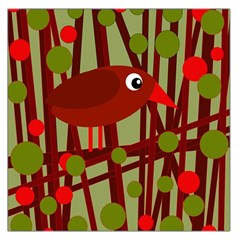 Red cute bird Large Satin Scarf (Square)