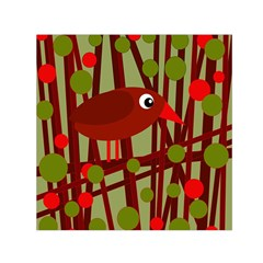 Red cute bird Small Satin Scarf (Square)