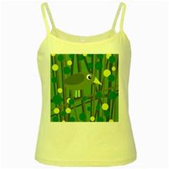 Cute green bird Yellow Spaghetti Tank
