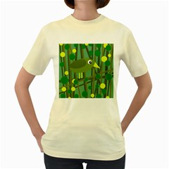 Cute green bird Women s Yellow T-Shirt
