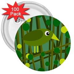 Cute green bird 3  Buttons (100 pack)