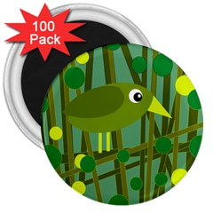 Cute green bird 3  Magnets (100 pack)