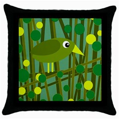 Cute green bird Throw Pillow Case (Black)