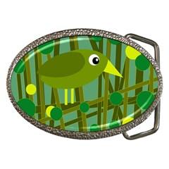 Cute green bird Belt Buckles