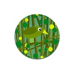 Cute green bird Magnet 3  (Round)