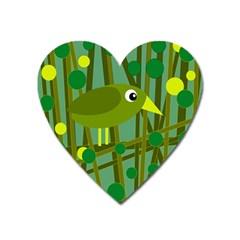 Cute green bird Heart Magnet
