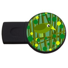 Cute green bird USB Flash Drive Round (2 GB)