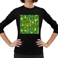 Cute green bird Women s Long Sleeve Dark T-Shirts