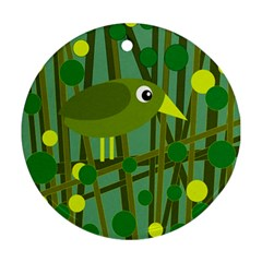 Cute green bird Round Ornament (Two Sides)