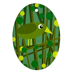 Cute green bird Oval Ornament (Two Sides)