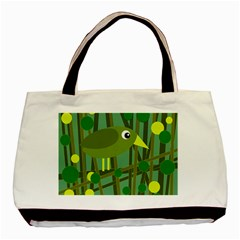 Cute green bird Basic Tote Bag (Two Sides)