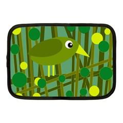 Cute green bird Netbook Case (Medium)