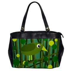 Cute green bird Office Handbags
