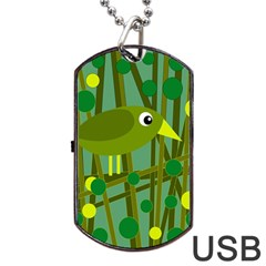 Cute green bird Dog Tag USB Flash (One Side)