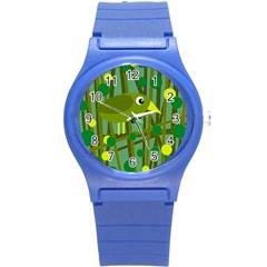 Cute green bird Round Plastic Sport Watch (S)