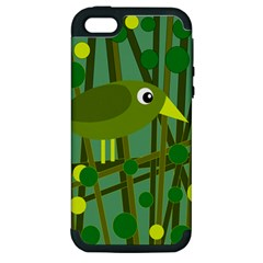 Cute green bird Apple iPhone 5 Hardshell Case (PC+Silicone)