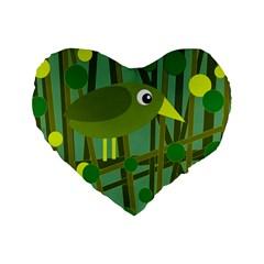 Cute green bird Standard 16  Premium Heart Shape Cushions