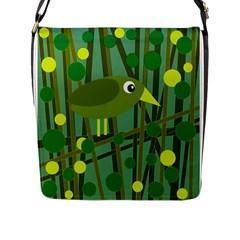 Cute green bird Flap Messenger Bag (L)