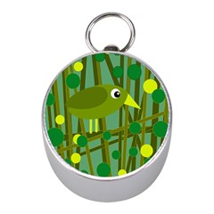 Cute green bird Mini Silver Compasses