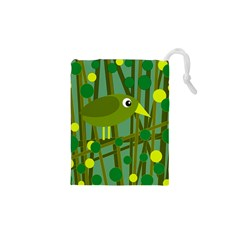 Cute green bird Drawstring Pouches (XS)