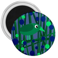 Green and blue bird 3  Magnets