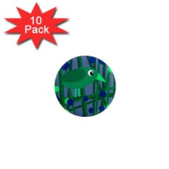Green and blue bird 1  Mini Magnet (10 pack)