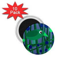 Green and blue bird 1.75  Magnets (10 pack)