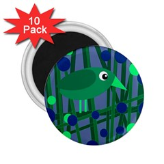 Green and blue bird 2.25  Magnets (10 pack)