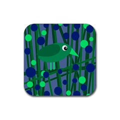 Green and blue bird Rubber Coaster (Square)