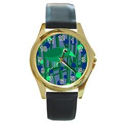 Green and blue bird Round Gold Metal Watch