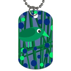 Green and blue bird Dog Tag (Two Sides)