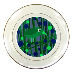 Green and blue bird Porcelain Plates